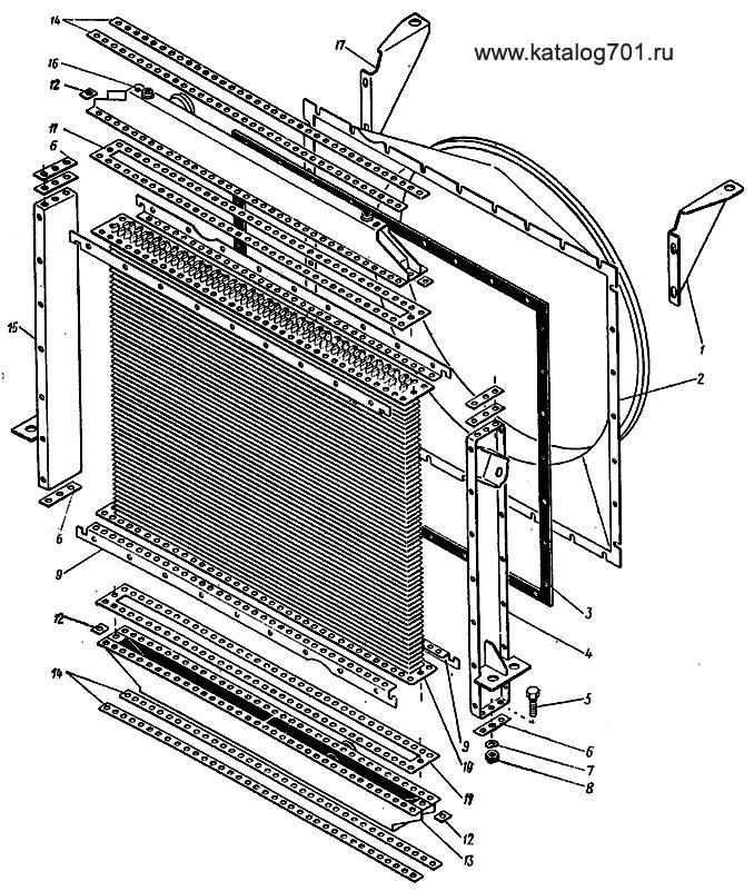 Подгруппа 701.13.01.000-1 Радиатор водяной трактора К-701.