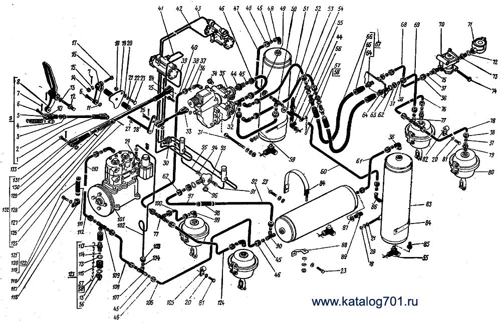 Система тормозная трактора К-701.